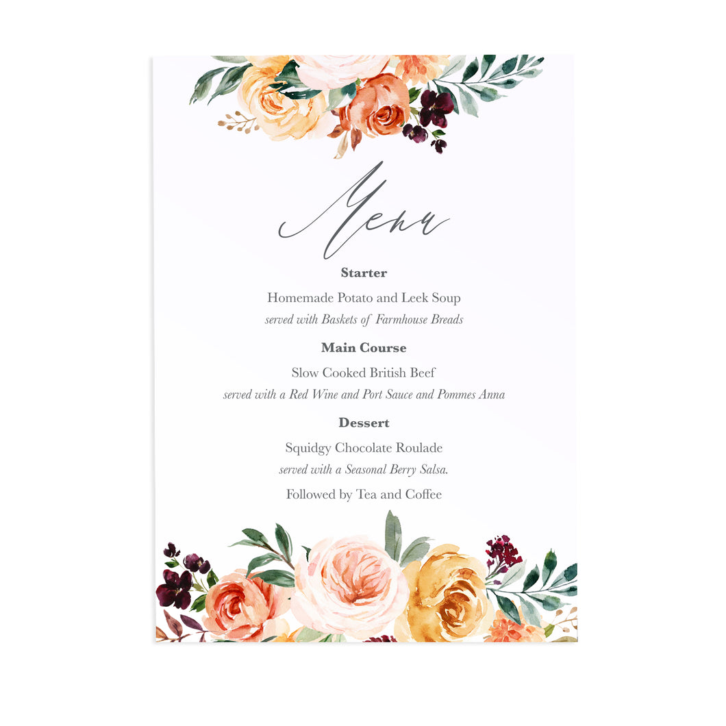 Autumn Floral Wedding Menu, Autumn Wedding, Fall Wedding, Burgundy & Orange, Peach Wedding, 5 Pack