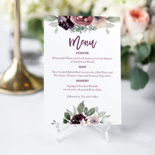 Plum Floral Wedding Menu, Purple Wedding, Lilac, Mauve, Purple and Blush, 5 Pack