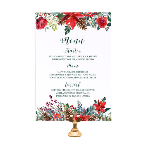 Winter Rose Wedding Menu, Christmas Wedding, Festive Wedding, Holly Wreath, Poinsettia, 5 Pack