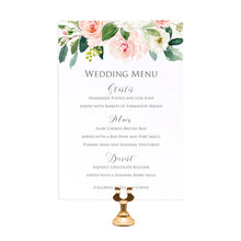 Blush and Gold Wedding Menu, Pink Watercolour flowers, Blush Wedding, 5 Pack