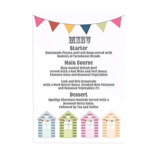 Beach Hut Wedding Menu, Beach Wedding, Seaside Wedding, Bunting, Nautical Wedding, Colourful Beach Huts, Coastal Wedding, 5 Pack