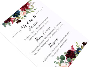 Burgundy, Navy & Blush Floral Wedding Menu, Menu Postcards, Burgundy Navy Invite, Rustic Floral, Blush Wedding Invite, Boho Floral Wedding, 5 Pack