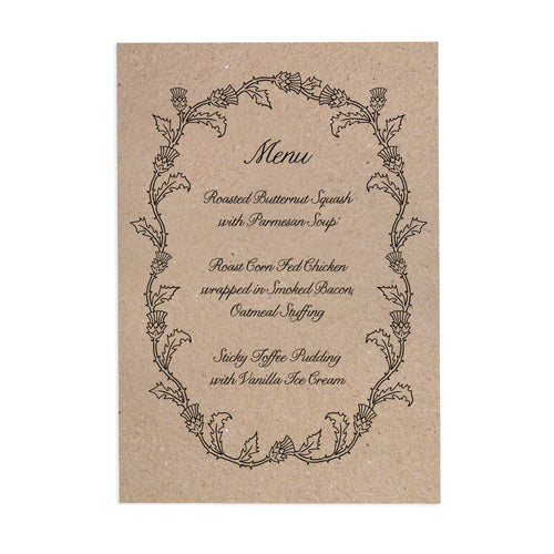 Scottish Thistle Wedding Menu, Thistle Wreath, Scottish Wedding, Scottish Invitations, Highland Wedding, Tartan Wedding, 5 Pack