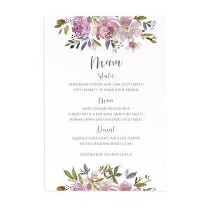 Dusty Rose Wedding Menu, Mauve, Dusky Pink, Pink Rose, Blush Wedding, 5 Pack