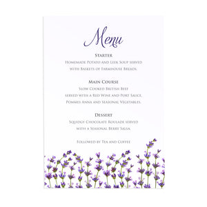 Lavender Wedding Menu, Rustic Wedding, Rosemary, Herbs, Purple Wedding, Barn Wedding, Lilac Wedding, 5 Pack