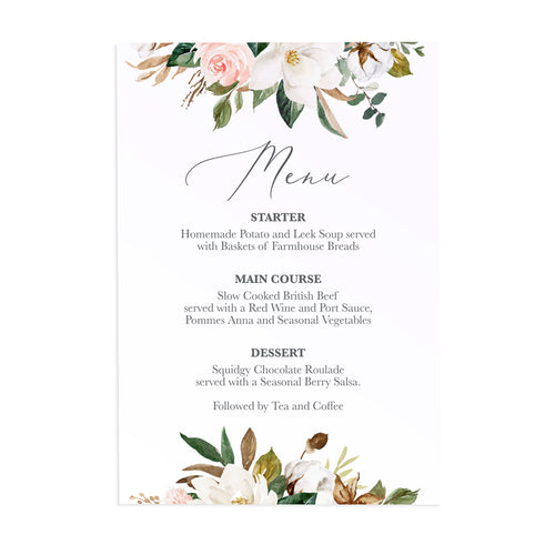 Magnolia Wedding Menu, Ivory Floral, Boho Wedding, Cotton Wedding, Autumn Wedding, 5 Pack