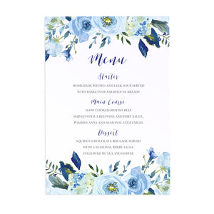 Blue Floral Wedding Menu, Blue Watercolour flowers, Baby Blue, Pastel Blue Wedding, 5 Pack