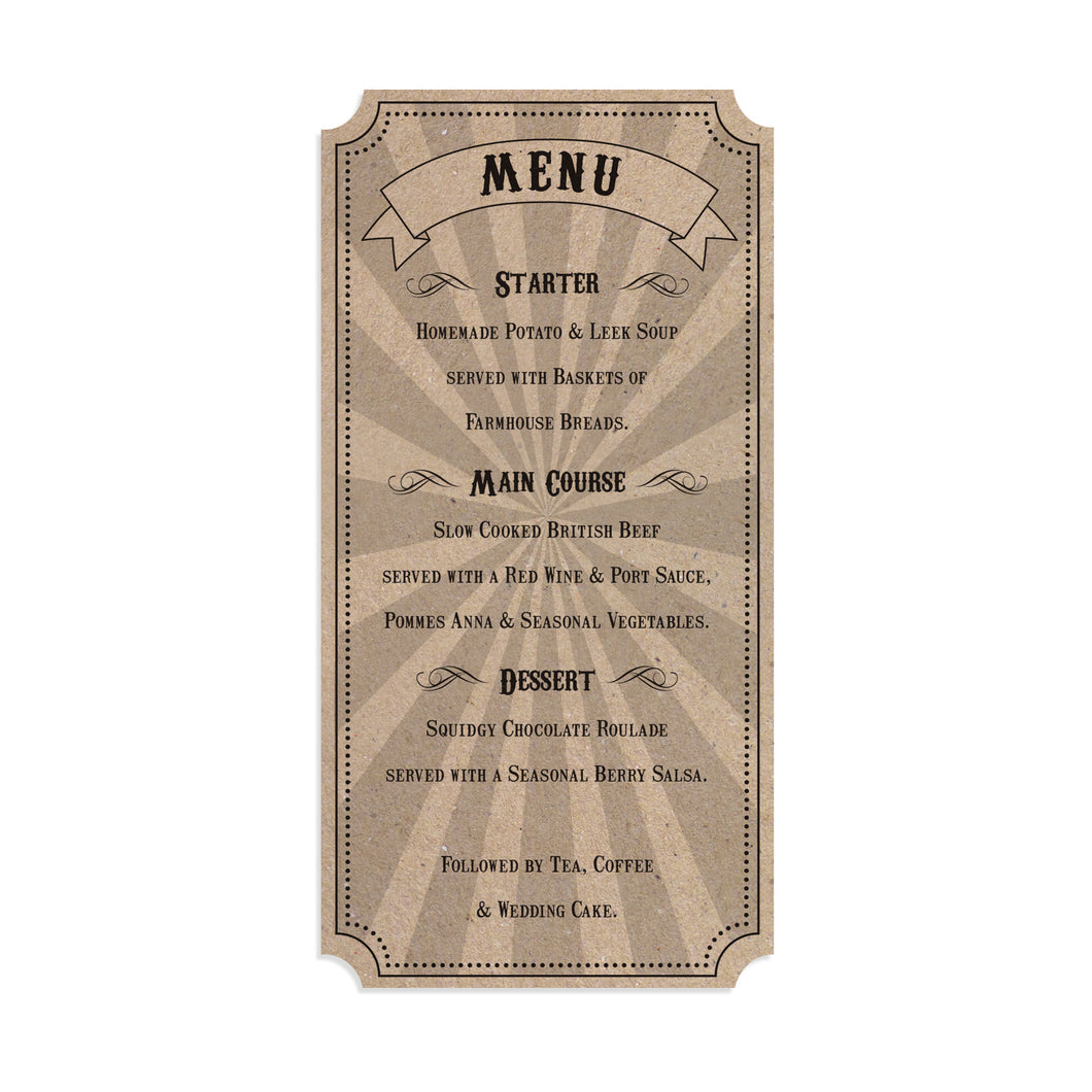 Circus Ticket Wedding Menu, Recycled Kraft, Fun Fair, Carnival, Ticket Invitations, 5 Pack