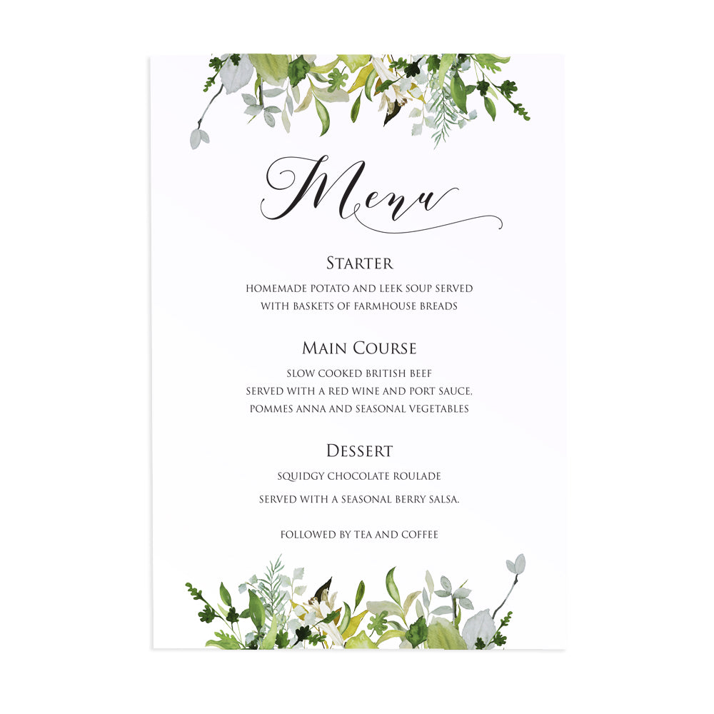 Greenery Wedding Menu, Watercolour Foliage, Greenery, Eucalyptus, Green Wreath, Botanical Wedding, 5 Pack
