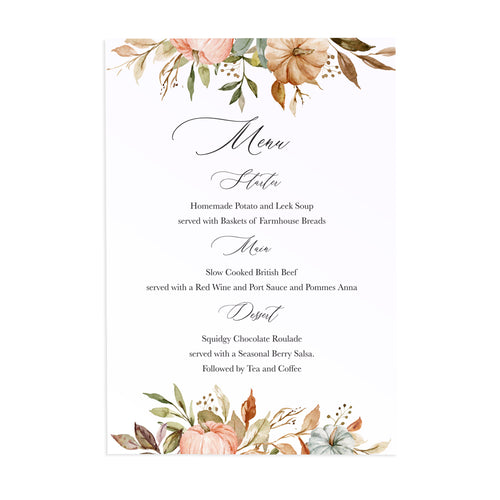 Autumn Pumpkin Menu, Floral Bar, Halloween, Autumn Wedding, Fall Wedding, Autumn Leaf, 5 Pack