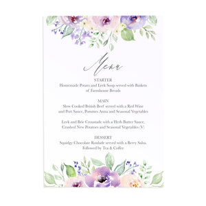 Lilac and Blush Wedding Menu, Purple Wedding, Lilac Wedding, Blush, 5 Pack