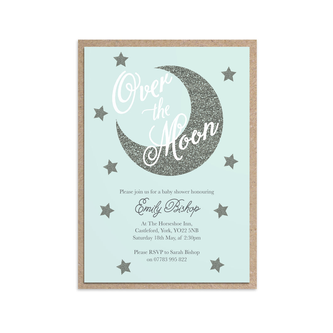Over The Moon Baby Shower Invitations, Blue Baby Shower, Baby Boy, 10 Pack