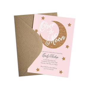 Over The Moon Baby Shower Invitations, Pink Baby Shower, Baby Girl, 10 Pack
