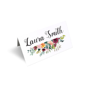 Paprika Place Cards, Orange Floral Wedding Invitation, Autumn Wedding, Fall Wedding, 20 Pack