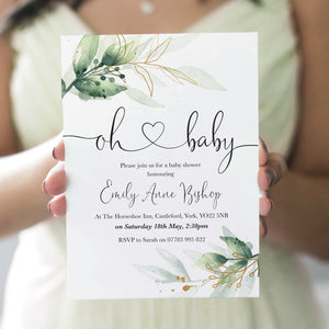 Green and Gold Baby Shower Invitations, Oh Baby, Greenery Baby Shower, Foliage Baby Shower, Unisex, 10 Pack