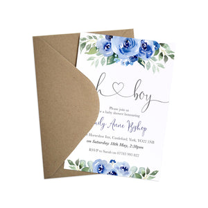 Blue Flower Baby Shower Invitations, Oh Boy, Blue Baby Shower, Blue Flowers, 10 Pack