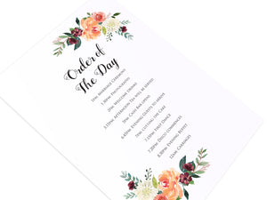 Paprika Order of The Day Postcards, Orange Floral Wedding Invitation, Autumn Wedding, Fall Wedding, 10 Pack