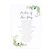 Green Leaf Order of The Day Postcards, Watercolour Foliage, Greenery, Eucalyptus Invites, Green Wreath, Botanical Wedding, 10 Pack