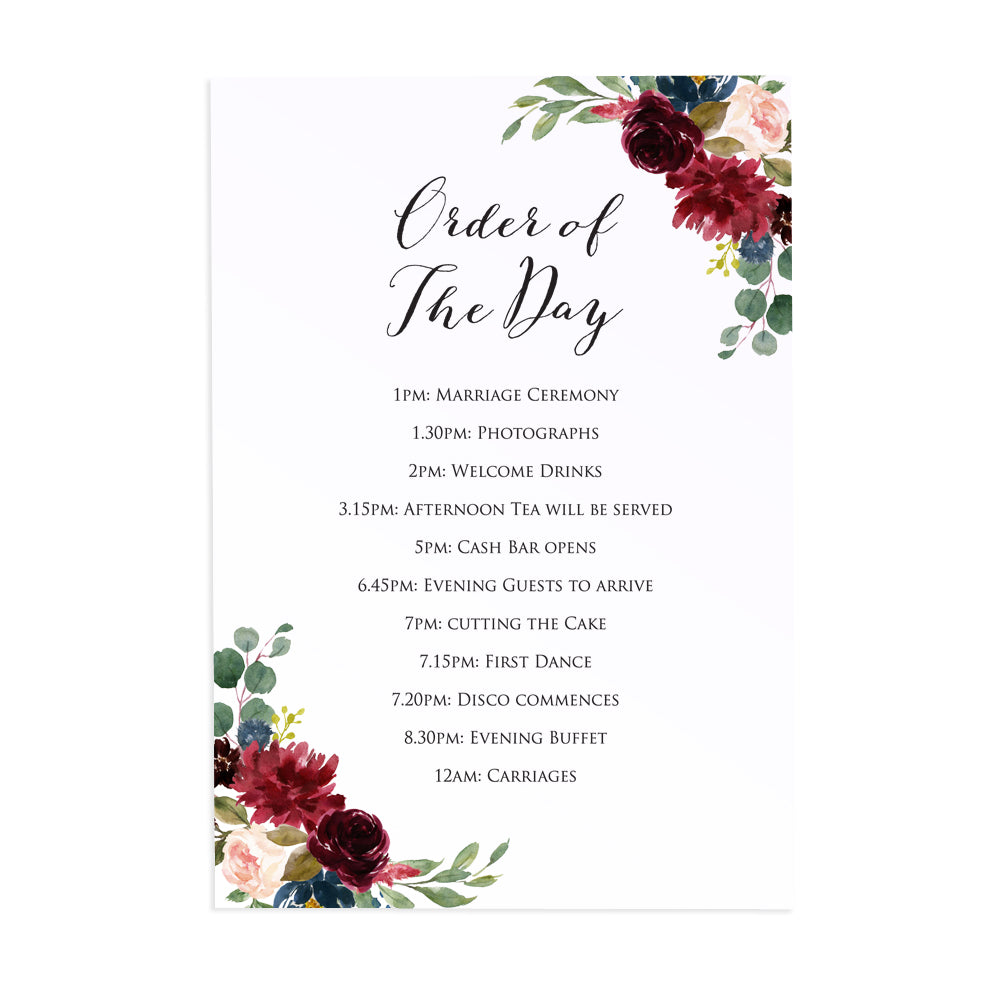 Burgundy, Navy & Blush Floral Order of The Day Postcards, Detail Cards, Burgundy Navy Invite, Rustic Floral, Blush Wedding Invite, Boho Floral Wedding, 10 Pack