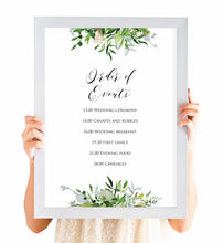 Greenery Order of Events Poster, Welcome Sign, Watercolour Foliage, Greenery, Eucalyptus, Green Wreath, Botanical Wedding