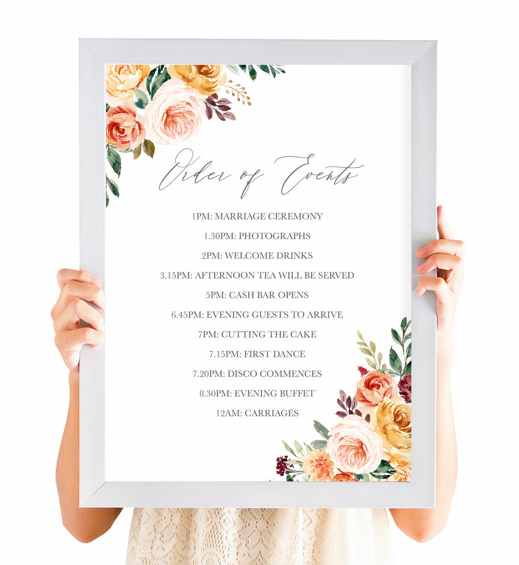 Autumn Floral Order of Events Poster, Welcome Sign, Autumn Wedding, Fall Wedding, Burgundy & Orange, Peach Wedding