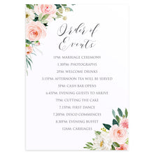 Blush and Gold Order of Events Poster, Welcome Sign, Pink Watercolour flowers, Blush Wedding