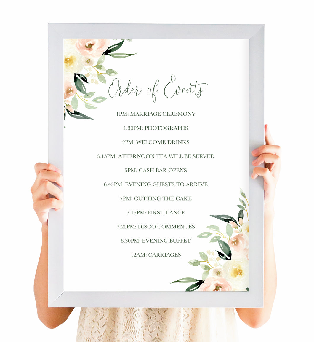 Blush Floral Order of Events Poster, Welcome Sign, Blush Wedding, Pink Flowers, Blush Ivory, Botanical, Modern Wedding