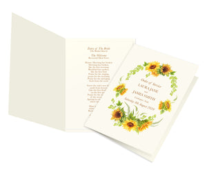 Rustic Sunflower Order of Service Booklets, Programme, Rustic Wedding, Country Wedding, Sunflowers, 10 Pack