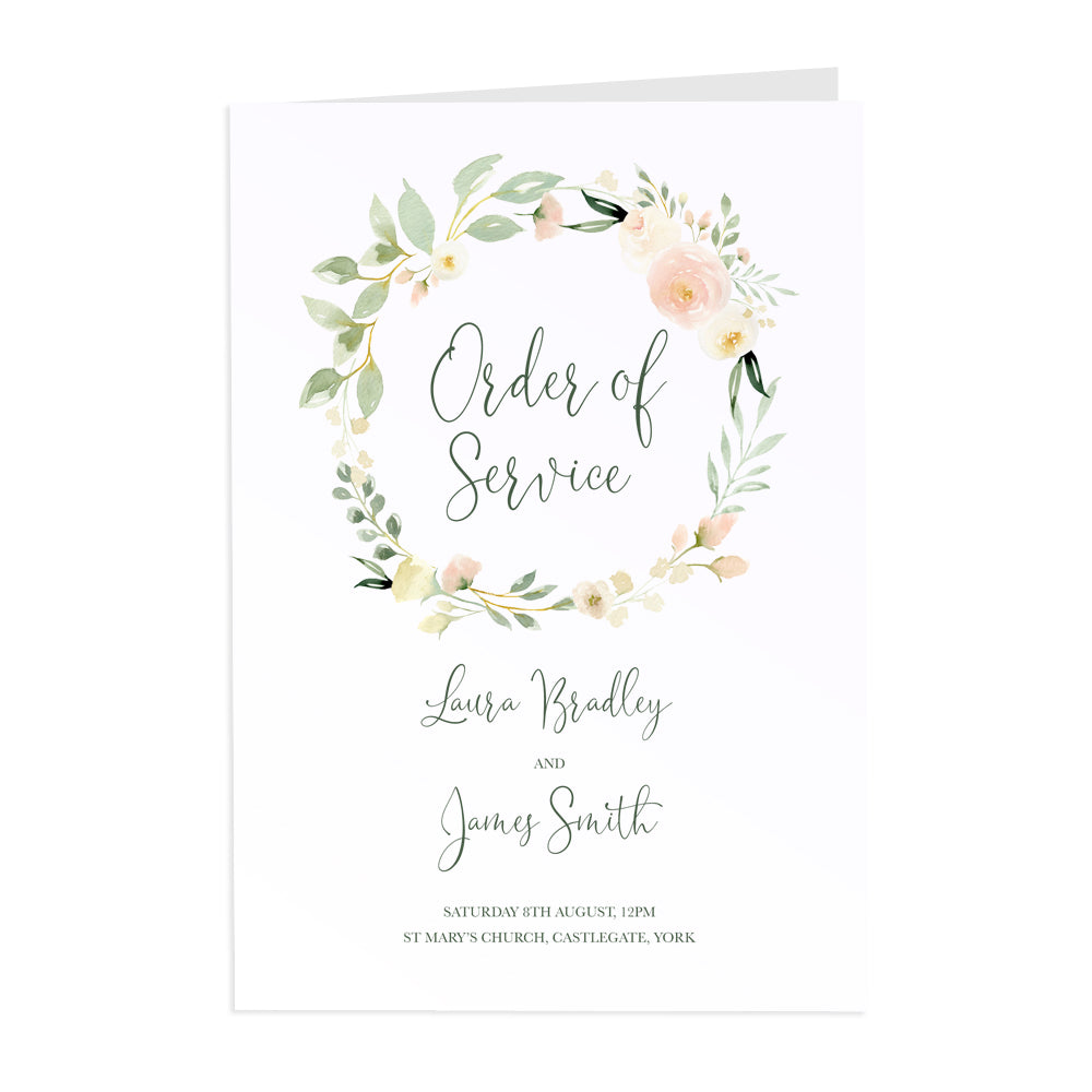 Blush Floral Order of Service Booklets, Blush Wedding, Pink Flowers, Blush Ivory, Botanical, Modern Floral, 10 Pack