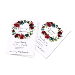 Burgundy, Navy & Blush Floral Order of Service Booklets, Burgundy Navy Invite, Rustic Floral, Blush Wedding Invite, Boho Floral Wedding, 10 Pack