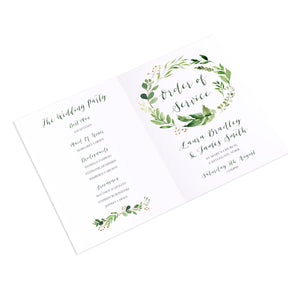 Green Leaf Order of Service Booklets, Watercolour Foliage, Greenery, Eucalyptus Invites, Green Wreath, Botanical Wedding, 10 Pack
