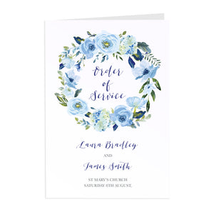 Blue Floral Order of Service Booklets, Blue Watercolour flowers, Baby Blue, Pastel Blue Wedding, 10 Pack