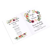 Paprika Order of Service Booklets, Orange Floral Wedding Invitation, Autumn Wedding, Fall Wedding, 10 Pack