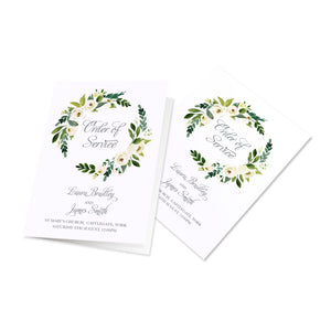 White Wedding Order of Service Booklets, White Floral Watercolour, White Peony, White Rose Invites, Botanical Wedding, 10 Pack