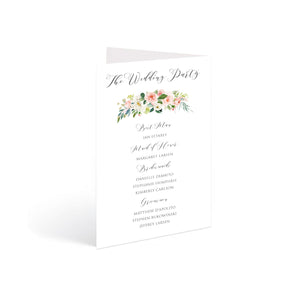 Blush and Gold Order of Service Booklets, Wedding Programme, Church Programme, Pink Watercolour flowers, Blush Wedding, 10 Pack