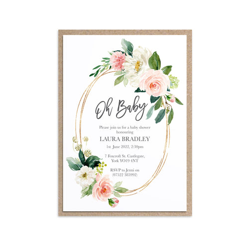 Blush Rose Baby Shower Invitations, Oval Wreath, Blush Baby Shower, Blush Flowers, Blush Ivory, 10 Pack