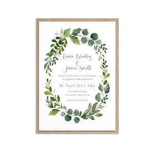 Botanical Garden Wedding Invitations, Oval Frame, Greenery Wedding, Leaf Wedding, Botanical Wedding, 10 Pack