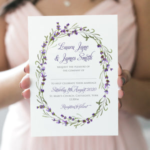 Lavender Wedding Invitations, Oval Wreath, Rustic Wedding, Rosemary Herb Invitation, Purple Wedding, Rustic Wedding, Lilac Wedding, 10 Pack