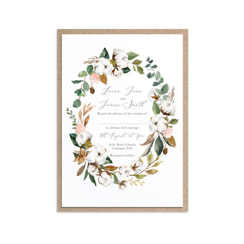 Magnolia Wedding Invitations, Oval Wreath, Ivory Floral, Boho Wedding, Cotton Wedding, Autumn Wedding, 10 Pack