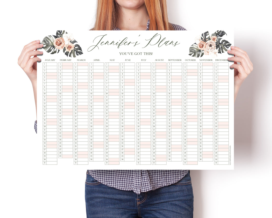 Personalised Calendar, Blush Palm, Study Planner, Year Wall Planner, Family Planner, University Planner, Office Planner, Memo Board, A2