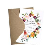 Paprika Wedding Invitation, Orange Floral Wedding Invitation, Autumn Wedding, Fall Wedding, 10 Pack