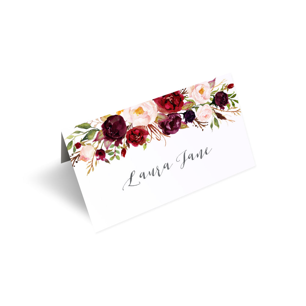 Boho Red Rose Place Cards, Seating Cards, Place Settings, Burgundy Invite, Red Roses, Red Wedding, Boho Floral Wedding, 20 Pack