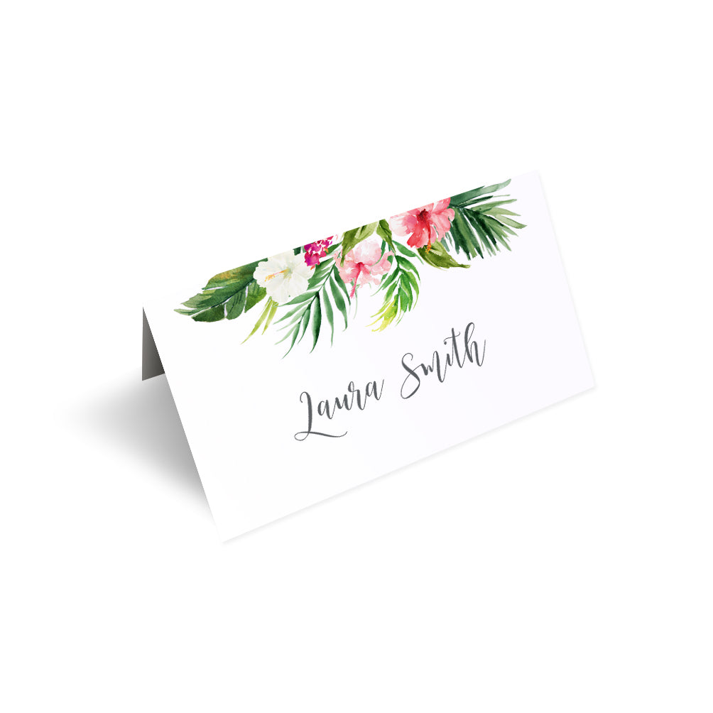 Tropical Floral Place Cards, Seating Cards, Place Settings, Beach Wedding, Tropical Wedding, 20 Pack