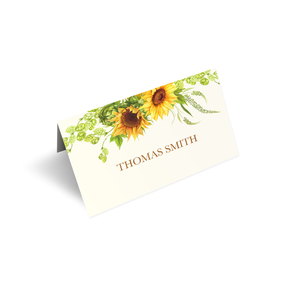 Rustic Sunflower Place Cards, Seating Cards, Place Settings, Rustic Wedding, Country Wedding, Sunflowers, 20 Pack