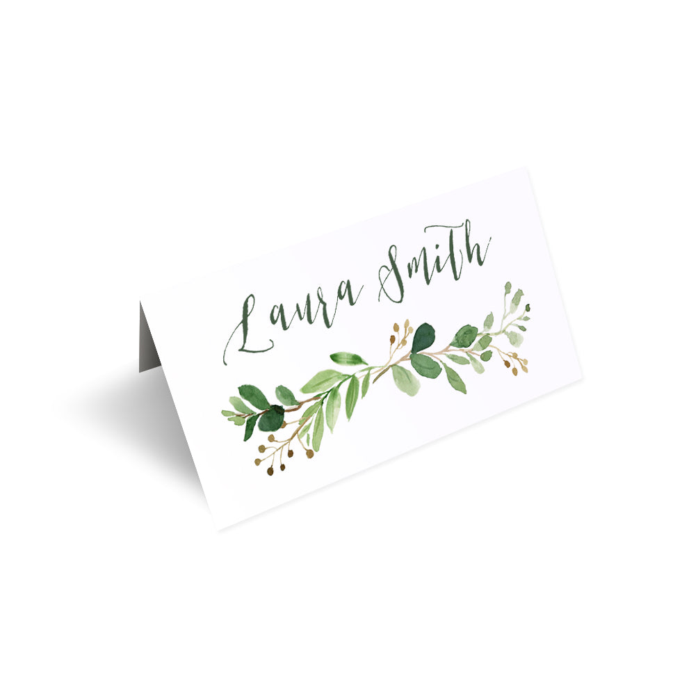 Green Leaf Place Cards, Watercolour Foliage, Greenery, Eucalyptus Invites, Green Wreath, Botanical Wedding, Personalised Place Cards, Place Settings, 20 Pack