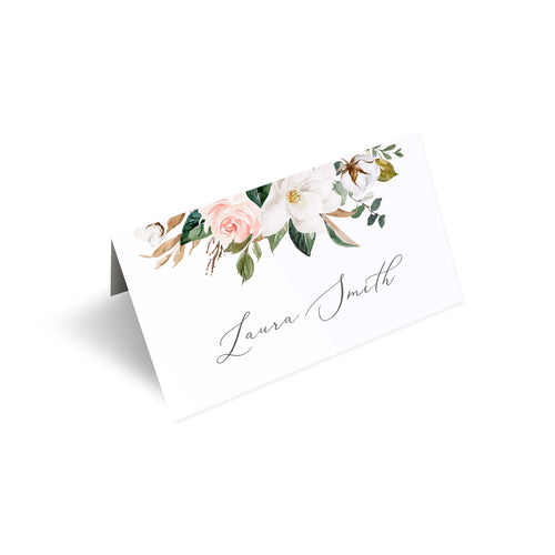 Magnolia Place Cards, Seating Cards, Place Settings, Ivory Floral, Boho Wedding, Cotton Wedding, Autumn Wedding, 20 Pack