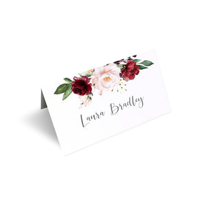 Red and Gold Place Cards, Seating Cards, Place Settings, Ruby Red, Burgundy, Blush, Red Floral, 20 Pack