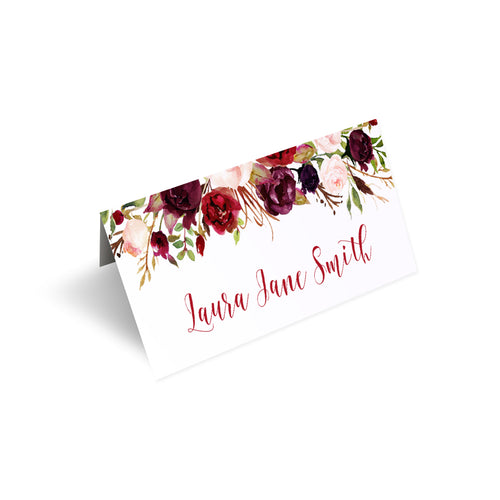 Boho Floral Antler Place Cards, Rustic Wedding Invitation, Floral Wedding Invitation, Red Rose, Rustic Country, 20 Pack