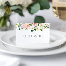 Blush and Gold Place Cards, Seating Cards, Place Settings, Pink Watercolour flowers, Blush Wedding, 20 Pack