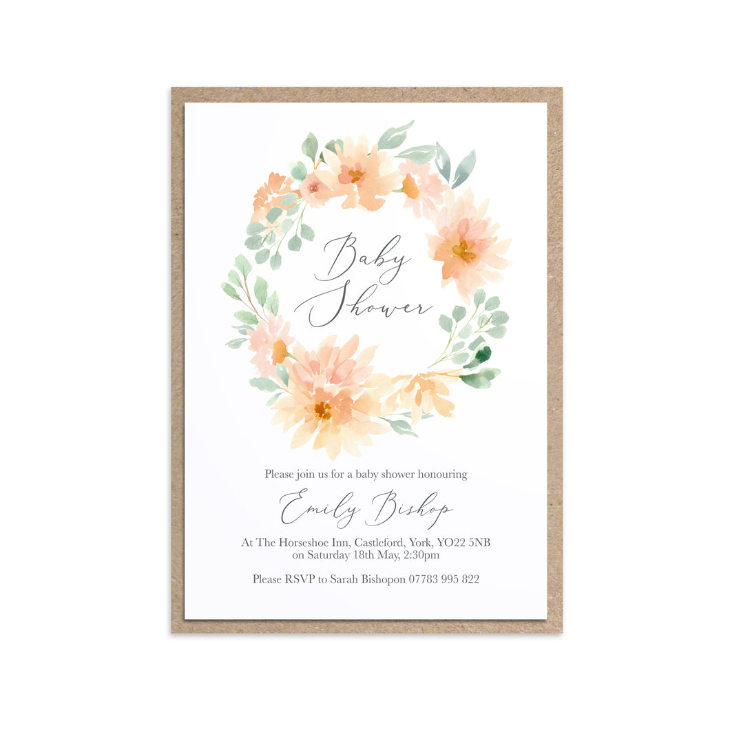 Peach Floral Baby Shower Invitations, Round Wreath, Peach Baby Shower, 10 Pack